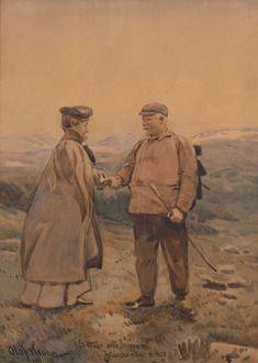 """Olaf KROHN """"Et möde med skippernen i Jotunheimen"""" 1903"""