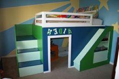 hochbett für kinder - blau und grün - Hochbett mit Rutsche – Spaß im Kinderzimmer