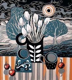 "Jane Walker ""Red cherries"" Linocut - Edition:12 - Image size (mm) 255x285"