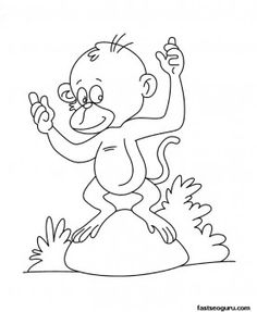 Printable Baby Monkey Coloring Page For Kids