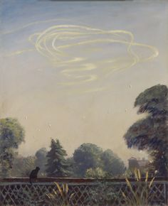 Francis Dodd was commissioned as an official war artist during both world wars, although his output during the Second World War was on a smaller scale. In contrast to Nash's grandiose depiction of the Battle of Britain, in this painting Dodd presents a far more domestic scene. A black cat sitting on a fence looks up towards the white contrails of a recent aerial dogfight, the aircraft themselves not visible and the outcome unknown. Dodd's painting conveys the closene