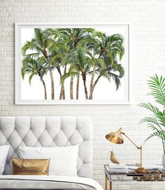 Palm Trees Print Tropical Wall Art Botanical Art Green