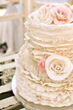 ruffled wedding cake so great for a romantic vintage or shabby chic wedding. could also be great for a bridal shower cake. Cream Wedding Cakes, Pretty Wedding Cakes, Pretty Cakes, Cake Wedding, Ivory Wedding, Rustic Wedding, Wedding Reception, Elegant Wedding, Floral Wedding