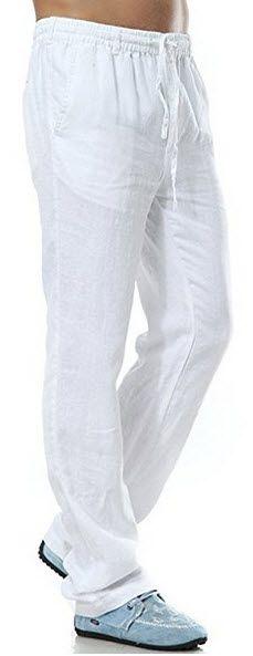 e2d34c56f7 Insun Men s Drawsting Waist Straight Leg Light Weight Linen Pants . Linen  Beach Pants