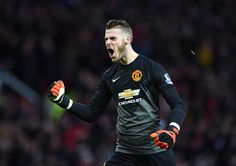 David De Gea of Manchester United celebrates during the Barclays Premier League match between Manchester United and Liverpool at Old Trafford on December 14, 2014 in Manchester, England.