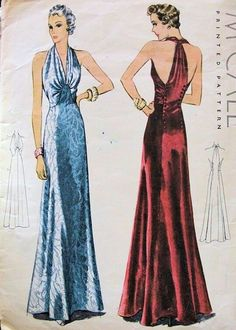 """The halter dress was a hot commodity in '30s fashion because like the era's popular backless dress styles, it exposed the new """"sensual"""" zone of a lady's body: Her shoulder blades and backside. The style was made popular by the designs of Madeleine Vionnet, who was also the inventor of the bias cut method. ://sammydvintage.com/vintage-style/30s/1930s-fashion/ Image - Vintage Patterns"""