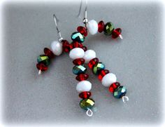 Red Green and White Handmade Candy Cane Earrings by CIC, $17.00 Shop here: https://www.etsy.com/listing/114544372/red-green-and-white-handmade-candy-cane  #candycanes #peppermint #gift #jewelry #fashion #etsy #teampinterest #Christmas #Christmasjewelry