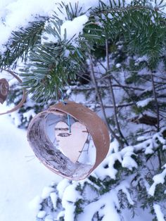 Picture of Easy Birch bark Christmas Tree ornaments