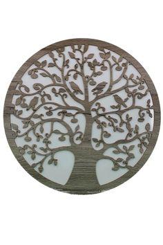 """Lebensbaum Baum des Lebens aus Holz  Graviert-""""Symbol der Kosmischen Ordnung"""". Weiße Hintergrund Wanddeko Holzdeko  Wandbild Dekoration Deko Geschenk für Geburtstag Hochzeit  Muttertag Weihnachten"""