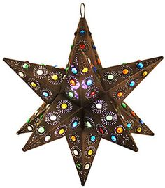 These handmade hanging tin stars from Mexico are the ultimate accent to your rustic or southwestern decor!  The various punched out designs and colorful marbles are absolutely stunning when illuminated and glow from every angle of the five-sided arms.  Hang one in any room of your home for unique decorative lighting.