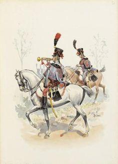 1805 - Trompette et Cavalier du 3me Hussards - René Louis