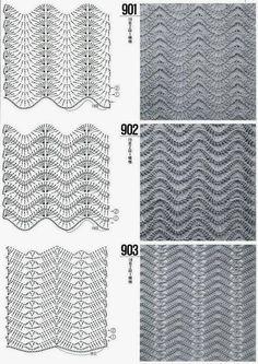 DODA CROCHET: Tantissimi punti uncinetto con schema - Crochet stitch with patterns Crochet Stitches Chart, Crochet Motifs, Crochet Diagram, Knitting Stitches, Knitting Patterns, Crochet Patterns, Stitch Patterns, Chevrons Au Crochet, Crochet Ripple