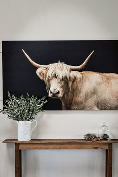 130 Inspiring Canvas Wall Art Decor to Make Your Living Room Look Amazing Modern Farmhouse, Modern Country, Country Style, Country Life, Cow Pictures, Cow Art, Beach House Decor, Coastal Decor, Wall Art Decor