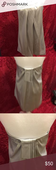 "Silver strapless bubble dress Amazing dress. Worn once. Great for the holidays. 23"" inches long. 100% triacetate. Satin material. Bundle 2+ for 10% off purchase. Submit offers through the blue ""offer button"". 1-2 day shipping. ABS Allen Schwartz Dresses Mini"