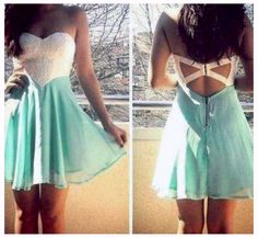 Women Sleeveless Strapless White Aqua Chiffon Cut Out Backless Mini Dress