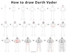 How to Draw Darth Vader (Step by Step Pictures) Olaf Drawing, Drawing For Kids, Star Wars Drawings, Cartoon Drawings, Star Wars Characters, Cartoon Characters, How To Draw Venom, Darth Vader Cartoon, How To Draw Lightning