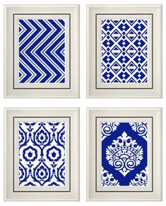 blue and white wall decor