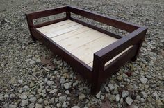 Modern Wooden Dog Bed.  For use with king pillow.  Upcycled wood and nontoxic stains and finishes. www.cozycama.com