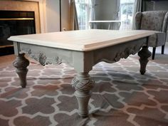 Found this lovely coffee table and refinished it in Annie Sloan chalk paint, French Linen and Old White. www.facebook.com/Refablished by marian