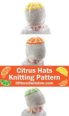 Use this cute citrus hats knitting pattern to knit an orange, lemon or lime slice baby hat for your newborn, baby or toddler!