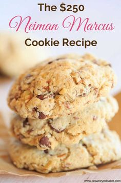 The rumored recipe for Neiman Marcus cookies, which was passed around via email for years, and later debunked by the company. These cookies are made with ground oats, chocolate chips, grated chocolate and chopped walnuts. Brownie Cookies, Cookie Desserts, Just Desserts, Delicious Desserts, Dessert Recipes, Famous Desserts, Pecan Cookies, Drop Cookies, Cookie Favors