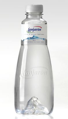 Lanjarón Water Bottle with a mountain reversed into the bottom.