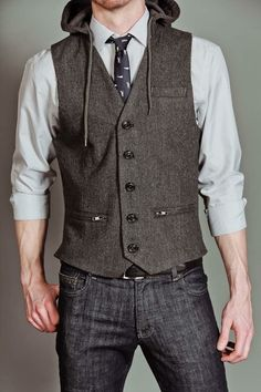 Hooded vest—professional meets casual.