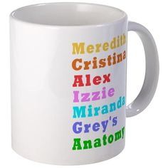 Greys Anatomy Mugs #GreysAnatomy TV Cast Grey #Karev #OMalley Steven Yang - for all products with this design click here - http://www.cafepress.com/dd/105798380