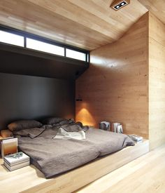 Living in a shoebox   Small loft apartment with hidden office solution