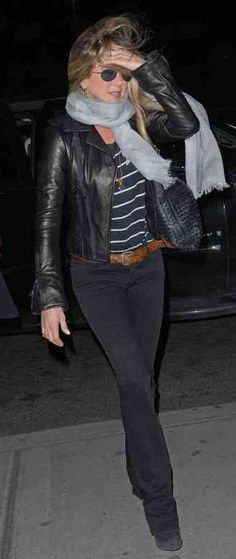 love the all black/stripe with grey scarf