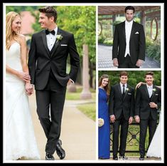 A black business suit made out of custom-made, classic black wedding dresses for men, and tailors for the groom to wear woollen