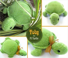 DIY Toby the Stuffed Turtle with a Hidden PJ Pocket...Complete tutorial with printable pattern, so sweet!
