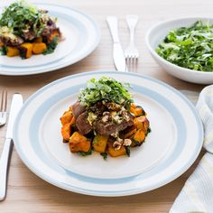 Simply delicious, topped with tangy feta cheese and sweet dates. Lamb Recipes, Lettuce, I Foods, Feta, Dates, Spinach, Carrots, Pork