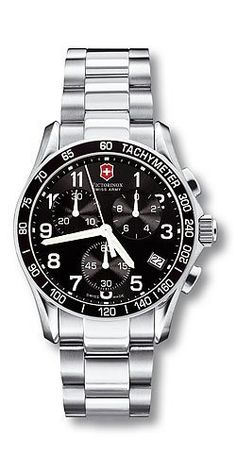 Victorinox Swiss Army, Silver Stainless Band Black Dial - Men's Watch 241122 Victorinox Swiss Army. $336.27. Chrono Classic Collection. 40mm Case Diameter. 100 Meters / 330 Feet / 10 ATM Water Resistant. Antireflective Sapphire Crystal. Analog Quartz Movement. The Chrono Classic Watch made in Switzerland with precision Swiss analog quartz movement. Save 36%!