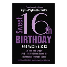 Black and Purple Modern Text Sweet 16th Party 3.5x5 Paper Invitation Card