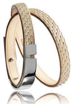 Bracelet U-TURN TWICE naturel Python - BIjoux Ursul pour homme