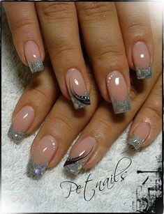 nails tips design french / nails tips - nails tips design - nails tips acrylic - nails tips and tricks - nails tips design french - nails tips design gel - nails tips acrylic short - nails tips gel Cute Acrylic Nails, Glitter Nail Art, Acrylic Nail Designs, Fingernail Designs, Cute Nails, My Nails, Silver Glitter, Elegant Nail Art, Pretty Nail Art