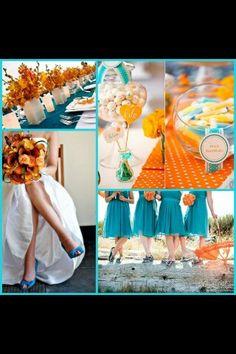 Cobalt and tangerine wedding