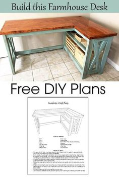 Free plans to build this Farmhouse Corner X Desk.  Detailed step-by-step plans in pdf format so you can build this desk yourself. Diy Furniture Plans, Diy Furniture Projects, Diy Wood Projects, Furniture Makeover, Home Projects, Building Furniture, Corner Furniture, Furniture Design, Barbie Furniture