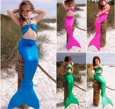 Lovely Free Shipping Swimsuits Children Girl Mermaid Tails With Monofin Bikinis Set Tops With Diamond Wreath Cosplay Costume Swimming Mother & Kids