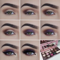 """""""Step by step pictorial using @toofaced Chocolate Bon Bons Palette  (Mocha, Bordeaux, Black Currant, Satin Sheets) and Shadow Insurance Primer Eyeliner:…"""""""