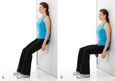 wall squat - strengthen quads, improve knees