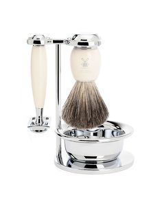 Forget disposables and electric shavers: Your guy's face deserves only the classiest of razor kits. Muhle Vivo 4-Piece Shaving Set with Safety Razor and Pure Badger Brush, $197, available at Fendrihan.