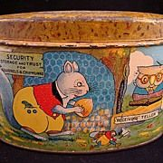SALE Early Tin Savings Bank ~ Squirrels & Chipmunks 1930