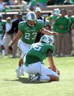 Marshall kicker Justin Haig connected on a 45-yard field goal with seven seconds remaining in regulation to give the Thundering Herd a 44-41 victory over Houston Saturday afternoon at Joan C. Edwards Stadium.