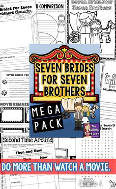 Seven Brides for Seven Brothers is my favorite movie musicals and I love teaching it in my classroom.  This mega pack includes worksheets, writing activities and more that take no prep!  Print and pop in the movie.  Introduce your students to the funny, quirky couples in this classic by doing more than just watching the movie.