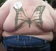 Butterfly Fat Rolls on Back Bad Tattoos America's Worst Tattoos Regrettable Horrible Awkward Stupid People Regrets Misspelled Nasty Tats WTF...