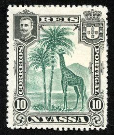 "Nyassa 1901 Scott 28 10r black & deep green ""Giraffe"""