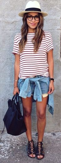 Casual tee and shorts combo