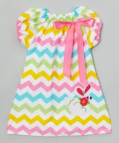 This Rainbow Zigzag Bunny Pillow Case Dress - Toddler & Girls by Royal Gem is perfect! #zulilyfinds